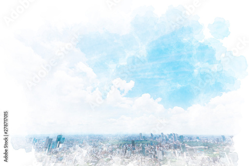 Blanc 東京の風景 Tokyo city skyline , Japan. Illustration of watercolor painting style.