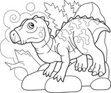 Fototapeta Dinusie - cartoon cute prehistoric dinosaur iguanodon, coloring book, funny illustration