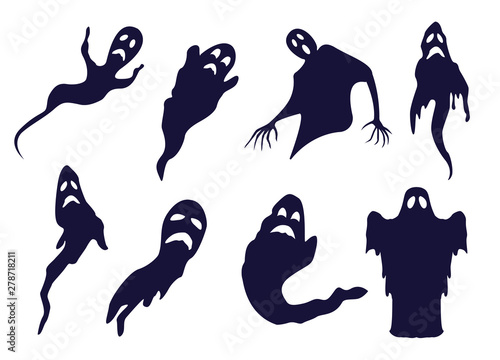 Different Ghosts and Spooks BW Silhouettes Set Wallpaper Mural