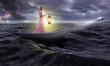 Frau im Ruderboot steuert auf Leuchtturm zu