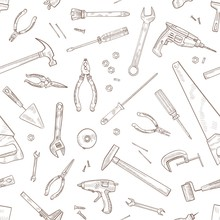 Monochrome Seamless Pattern With Manual And Powered Tools For Woodworking Hand Drawn With Contour Lines On White Background. Backdrop With Equipment For Home Repair. Realistic Vector Illustration.