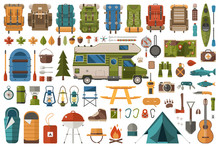 Hiking And Camping Flat Icons Wanderlust Collection