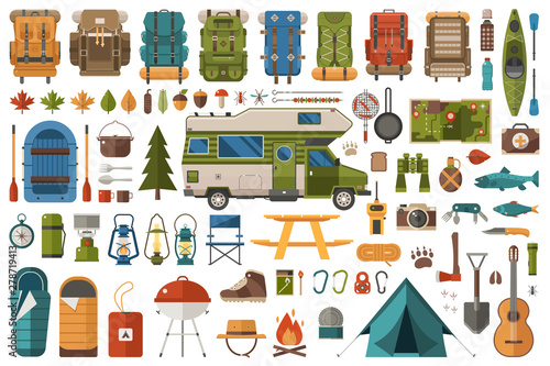 Fotografia Hiking and Camping Flat Icons Wanderlust Collection