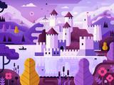 Medieval Castle on Lake Fantasy Landscape