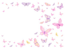 Frame, With Beautiful Butterflies On A White Background. Watercolor Painting
