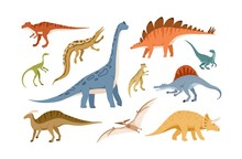 Collection Of Dinosaurs And Pterosaurs Of Various Types Isolated On White Background. Bundle Of Prehistoric Animals, Giant Reptiles From Jurassic Period. Flat Cartoon Colorful Vector Illustration.