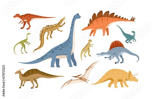 Fotografie, Obraz Collection of dinosaurs and pterosaurs of various types isolated on white background