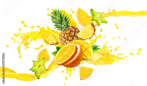 Orange, pineapple, mango fruit juices liquid 3D splash mix. Healthy fruits juice or smoothie splash label ad banner design with orange, pineapple, mango fruits and juice splash wave isolated on white