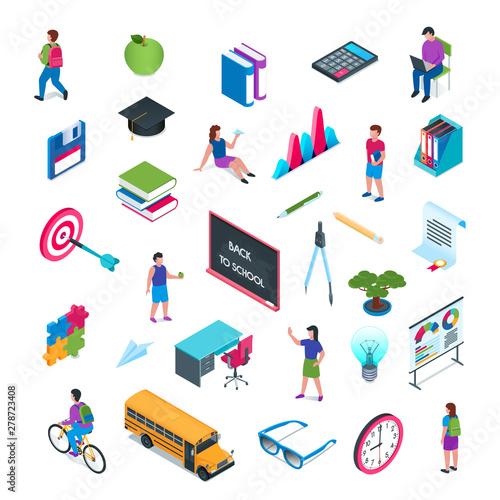 Photo  School and education isometric icon set 02