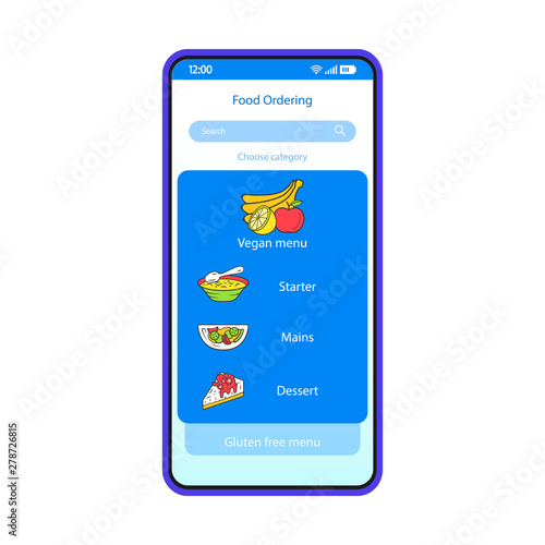 Food ordering smartphone interface vector template  Mobile