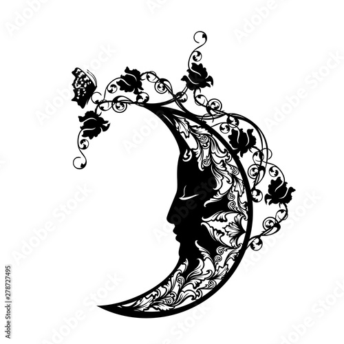 sleeping crescent moon among rose flowers and butterfly - sweet dreams concept b Fototapete