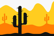 Desert Landscape With Cactus And Bushes. Flat Vector Illustration