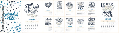 Obraz Modern typography lettering compositions. 2020 calendar with funny motivation quotes. Hand drawn illustrations. Trendy slogan, vector graphic - fototapety do salonu
