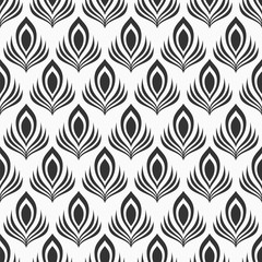 Abstract seamless pattern of stylized peacock feathers. Monochrome elegant vector background.
