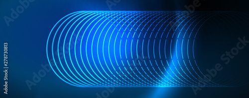 Poster Abstract wave Trendy neon blue abstract design with waves and circles. Neon light glowing effect. Abstract digital background.