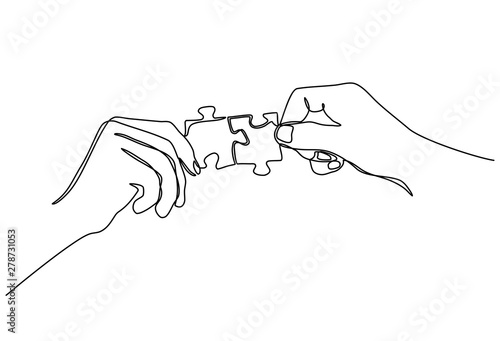 Fototapeta Continuous line drawing of hands Combining Two Puzzle Pieces isolated on white background. obraz