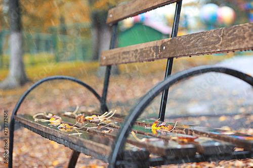 Wall Murals Cemetery Autumn rain in the park