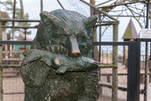 Bronze Sculpture, Brown Bear Eat Big Trout, Grizzly And Big Fish