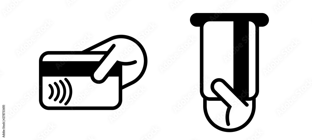 Fototapeta Contactless payment credit card, ATM insert card vector logo. NFC contactless pay wave and pay pass POS terminal icon