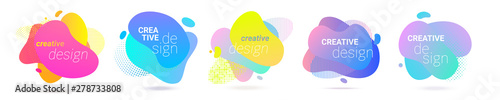 Color gradient abstract liquid splash shape, vector halftone pattern background design. Fluid color gradient overlap halftone graphic background