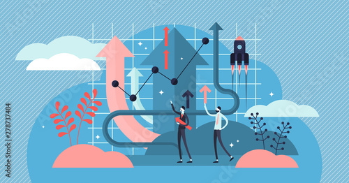 Growth vector illustration. Flat tiny product development persons concept.