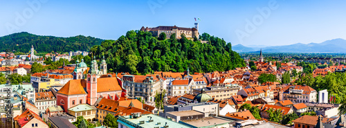 Old town and the medieval Ljubljana castle on top of a forest hill in Ljubljana, Slovenia - 278738628