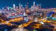 Aerial Hyperlapse of Downtown Los Angeles at night