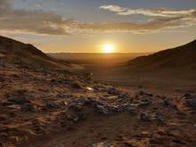Magnifique Coucher De Soleil Dans Le Désert De Zagora Au Maroc