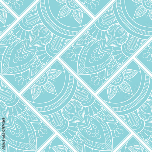 Poster Boho Stijl Line art seamless pattern for fabric or wrapping paper. Background with hand-drawn elements