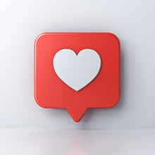 3d Social Media Notification Love Like Heart Icon In Red Rounded Square Pin Isolated On White Wall Background With Shadow And Reflection 3D Rendering