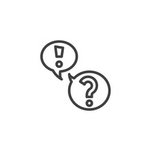 FAQ, Questions And Answers Line Icon. Linear Style Sign For Mobile Concept And Web Design. Exclamation And Question Mark Speech Bubble Outline Vector Icon. Symbol, Logo Illustration. Vector Graphics