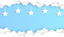 Sky With Star Cloud Shape Landscape Background,vector,illustration,paper Art Style,copy Space For Text