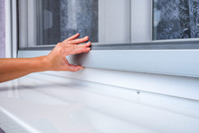 Screen On Window. Woman Hand H...
