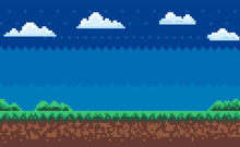 Nobody Interface Of Pixel Game Platform, Evening And Sunset View, Cloudy Sky And Green Grass With Bushes, Adventure And Level, Computer Graphic Vector, Pixelated Nature For Mobile App Games