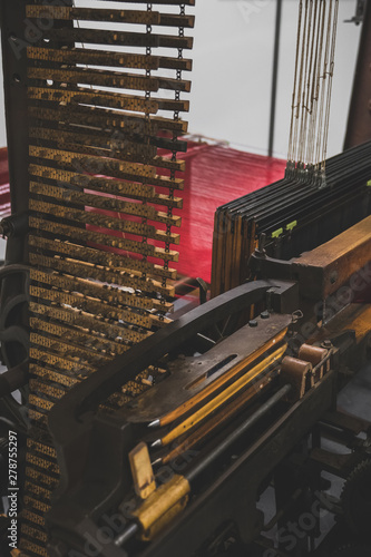 Photo Retro loom with dobby mechanism and two-box sley.