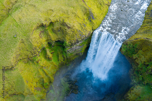 Aluminium Prints Waterfalls Aerial view of Skogafoss waterfall, Iceland by drone
