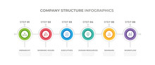 Modern Design Elements For Company Structure Concept Multicolor Infographics.Timeline With 6 Steps, Options, Circles. Vector Template