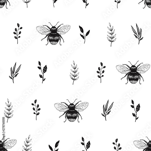 plakat Hand drawn seamless pattern with leaves and Bees. Vector nature illustration in minimalistic style.