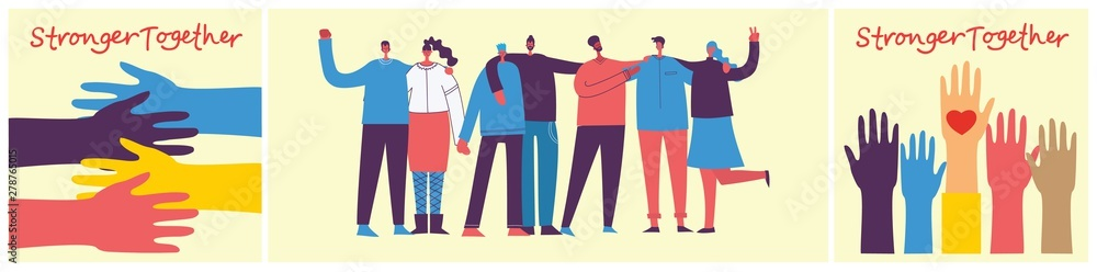 Fototapeta Vector illustration of Happy men and women holding hands together in the flat style. Concept illustration with colored characters. Stronger together