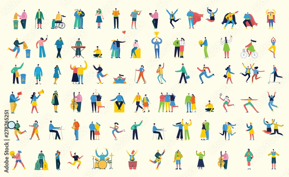 Fototapety, obrazy: Vector illustration in a flat style of different activities people with smarthones, travelling, dancing, walking, doing business, reading books, playing musical instruments