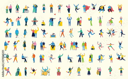 Fototapeta Vector illustration in a flat style of different activities people with smarthones, travelling, dancing, walking, doing business, reading books, playing musical instruments obraz
