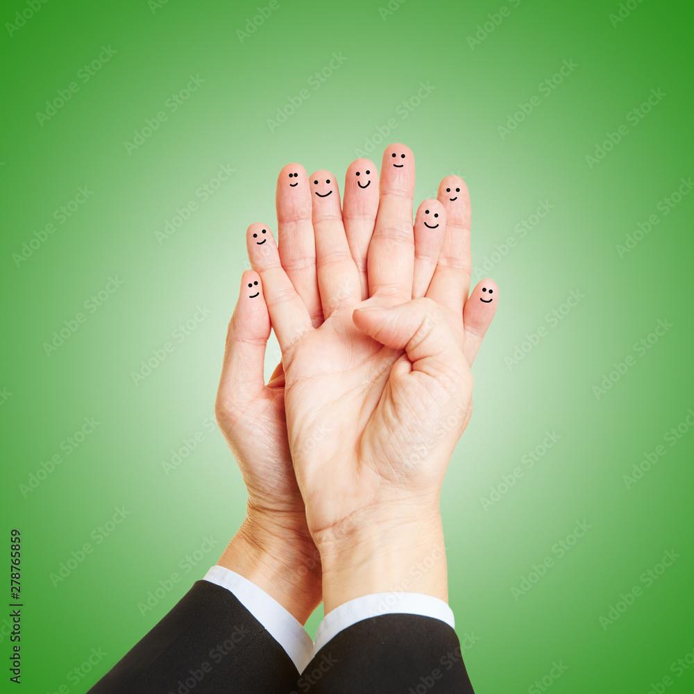 Fototapety, obrazy: Finger mit Gesicht als Teamwork Konzept