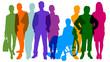 canvas print picture - Silhouetten von Menschen als Bevölkerung und Team Konzept