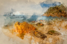 Digital Watercolour Painting Of Beautiful Beach Landscape With Soft Pastel Colors In Morning Light