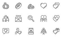 Love And Wedding Vector Line Icons Set. Matrimony, Happy Couple, Valentine's Day, Romantic Relationship, Love Affair. Editable Stroke. 48x48 Pixel Perfect.