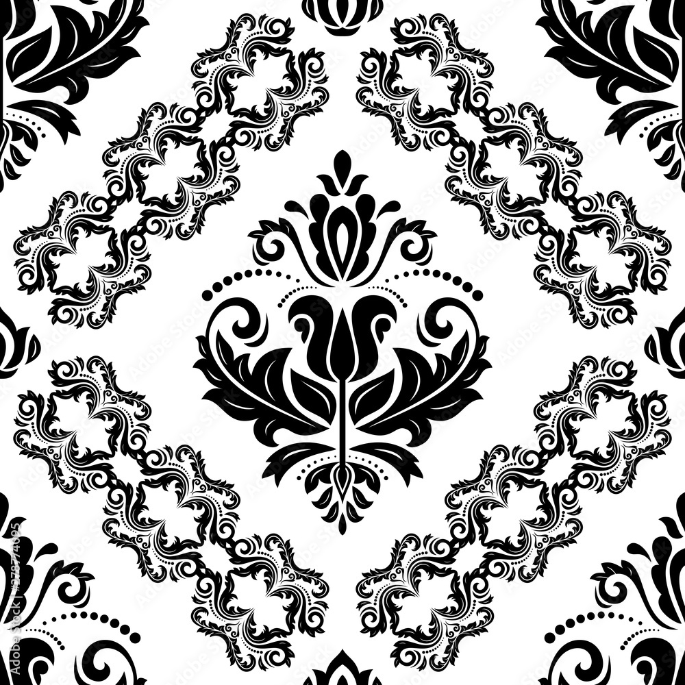 Orient classic black and white pattern. Seamless abstract background with vintage elements. Orient background
