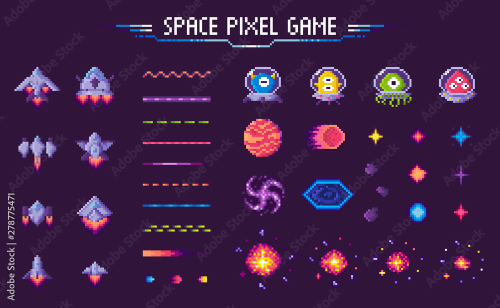Fototapeta Space pixel game vector, isolated icons of 8 bit graphics, lines and planets, meteors with aliens and monsters, decorative elements of gaming process, pixelated cosmic object for mobile app games