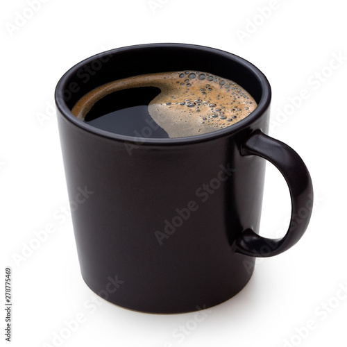 Leinwand Poster Black coffee in a black ceramic mug isolated on white.