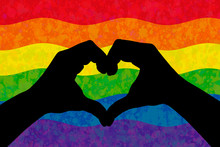 Two Hands In The Form Of Heart Over LGBT Colorful Rainbow Flag, Graphic Illustration