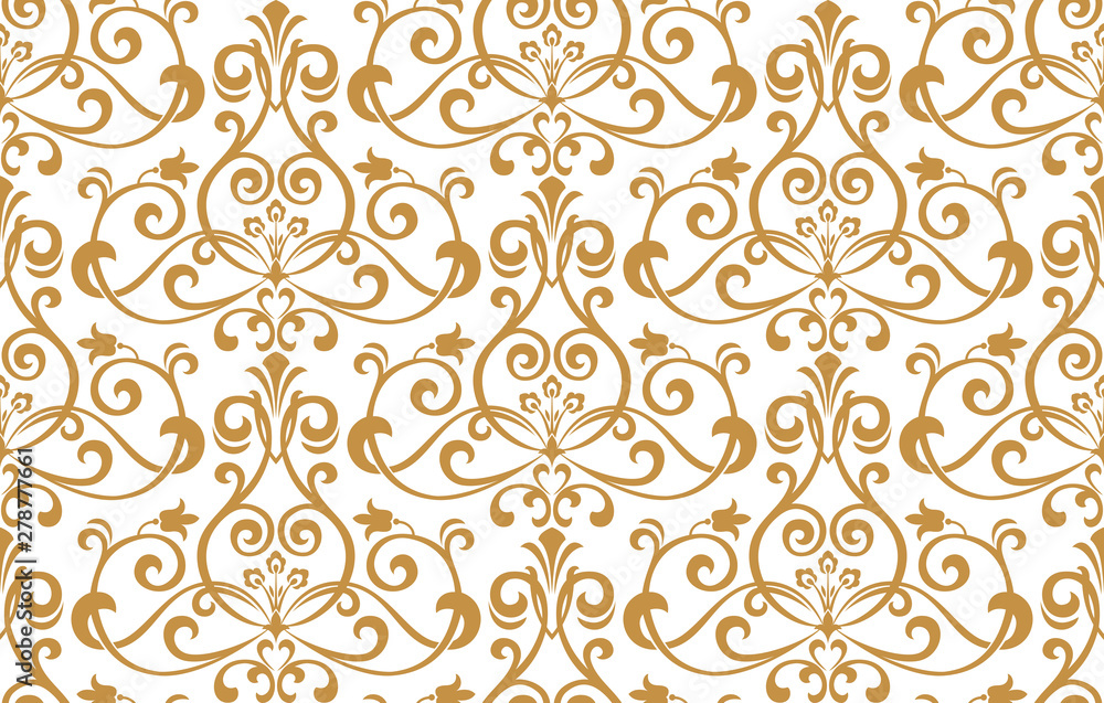 Fototapeta Wallpaper in the style of Baroque. Seamless vector background. White and gold floral ornament. Graphic pattern for fabric, wallpaper, packaging. Ornate Damask flower ornament